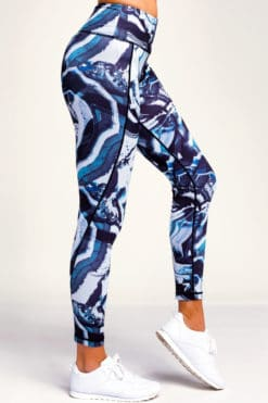 Womens Performance Black Blue Marble Leggings Side