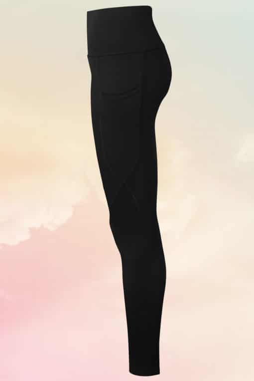Women's Performance Hourglass Black Gym Leggings Side