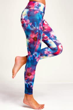 Womens Red Floral Funky Gym Leggings Side