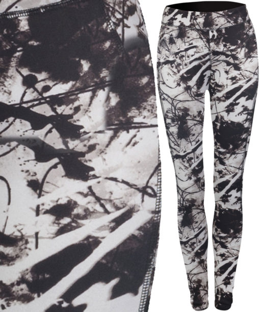 Womens Reversible Black Print Workout Leggings