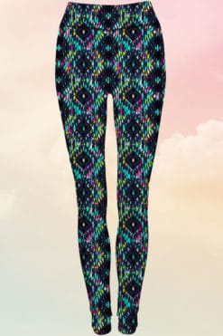 Women's Reversible Charcoal Bright Aztec Workout Leggings