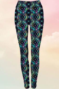 Women's Reversible Charcoal Bright Aztec Workout Leggings