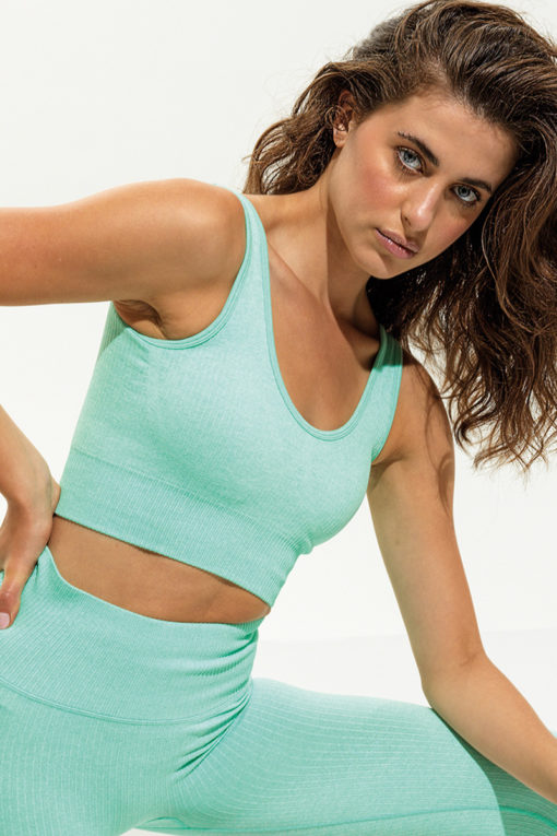 Womens Ribbed Seamless 3D Fit Peppermint Sports Bra