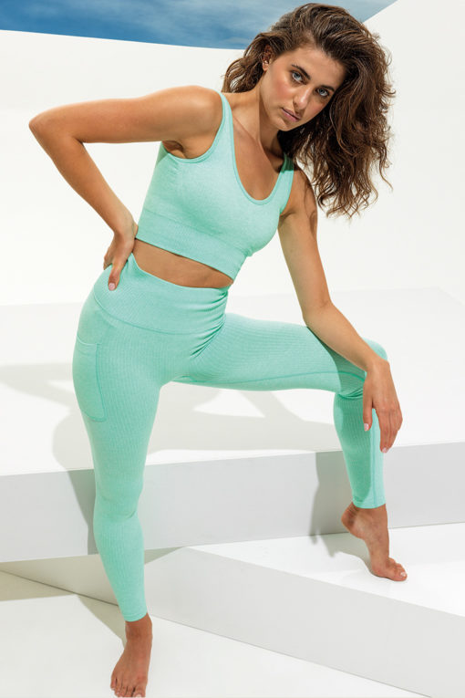 Women's Ribbed Seamless 3D Fit Peppermint Sports Leggings Outfit