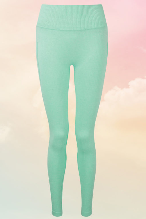 Womens Ribbed Seamless Peppermint Sports Leggings
