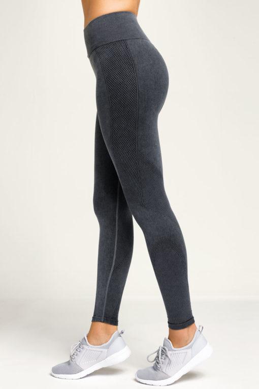 Womens Seamless 3D Fit Multi Sport Black Denim Look Leggings Side