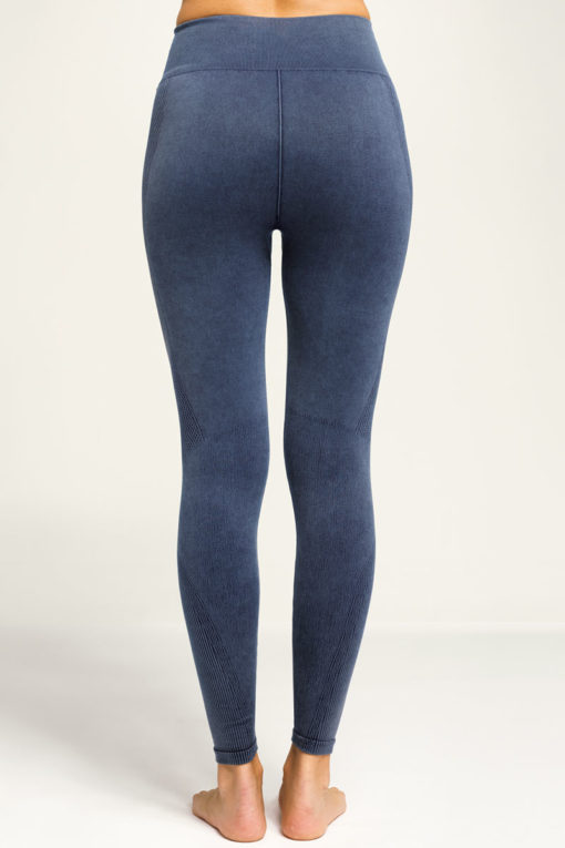 Women's Seamless 3D Fit Multi-Sport Indigo Denim Look Leggings Back