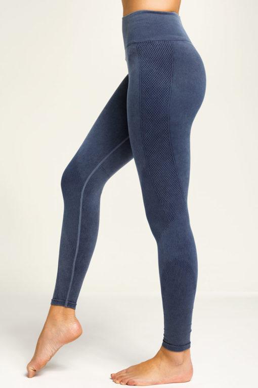 Women's Seamless 3D Fit Multi-Sport Indigo Denim Look Leggings Left Side