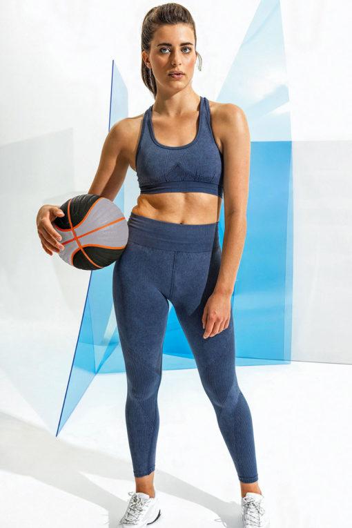 Womens Seamless 3D Fit Multi-Sport Indigo Denim-Look Leggings Model