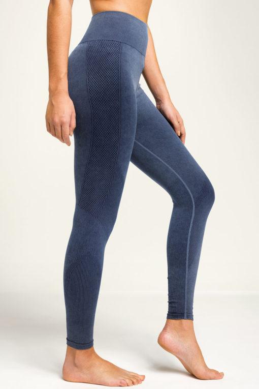 Women's Seamless 3D Fit Multi-Sport Indigo Denim Look Leggings Side
