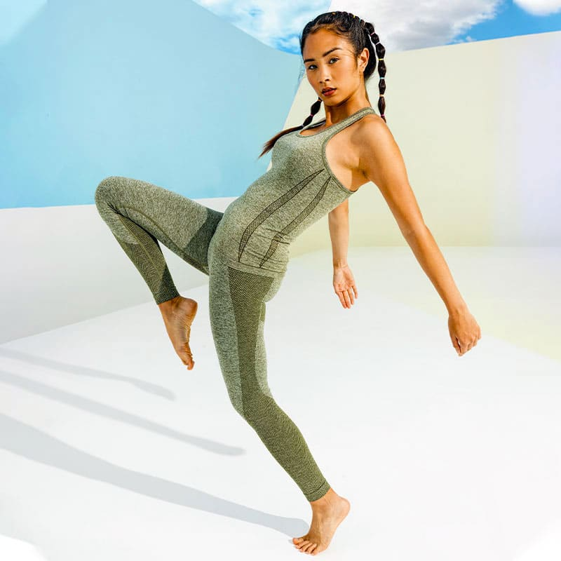 Womens Seamless 3D Fit Multi Sport Sculpt Olive Leggings Activewear