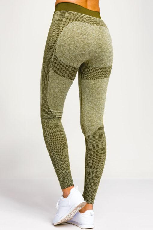 Womens Seamless 3D Fit Multi Sport Sculpt Olive Leggings Back