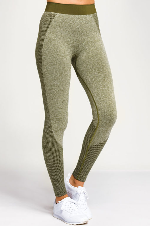 Womens Seamless 3D Fit Multi Sport Sculpt Olive Leggings Front