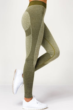 Womens Seamless 3D Fit Multi Sport Sculpt Olive Leggings Side