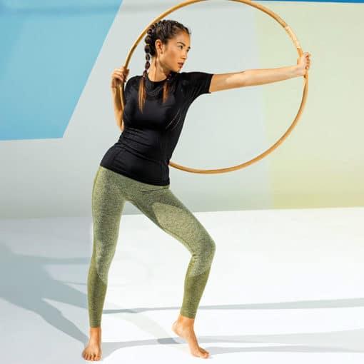 Womens Seamless 3D Fit Multi Sport Sculpt Olive Leggings Side