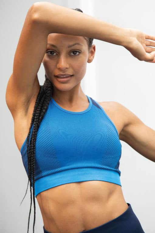 Women's Seamless Panelled Bright Blue/Navy Crop Top Model Front