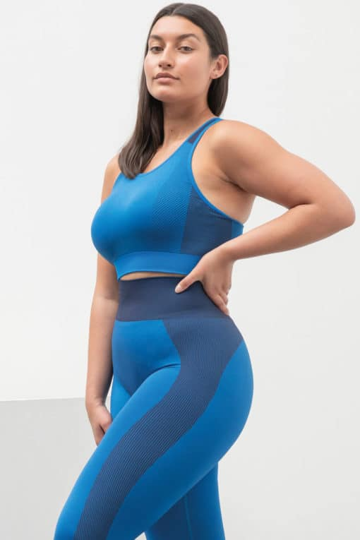 Women's Seamless Panelled Bright Blue Navy High Waisted Leggings Top