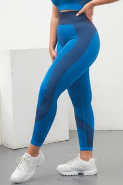 Women's Seamless Panelled Bright Blue Navy Leggings