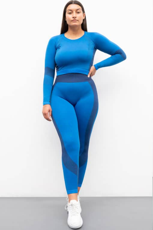 Women's Seamless Panelled Bright Blue/Navy Leggings Outfit Front