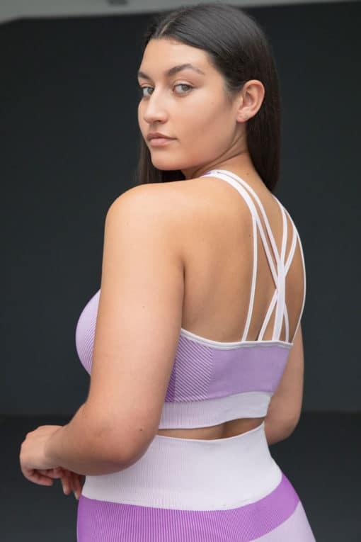 Women's Seamless Panelled Light Pink/Purple Crop Top Back