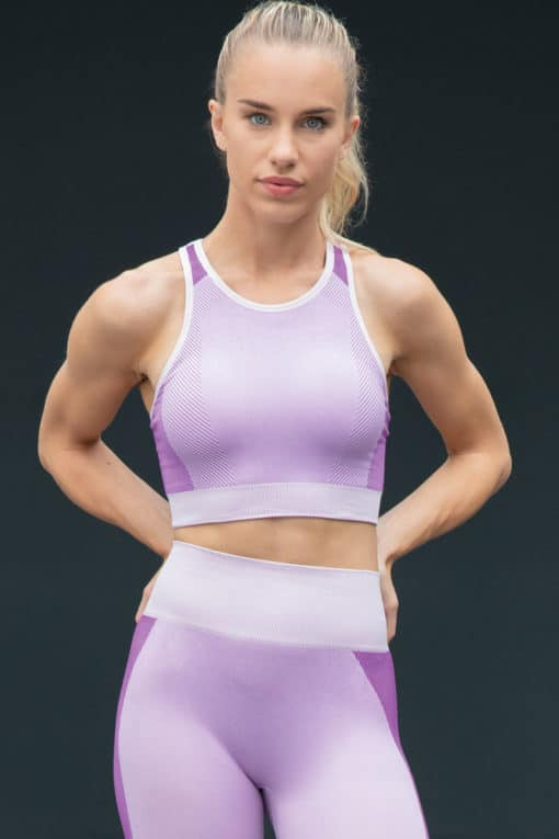 Women's Seamless Panelled Light Pink Purple Crop Top Outfit