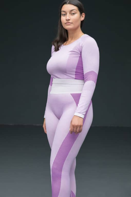 Womens Seamless Panelled Light Pink Purple High Waisted Leggings Plus Size