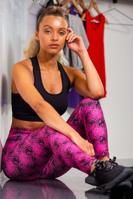 Women's Speckled Pink Funky Gym Leggings