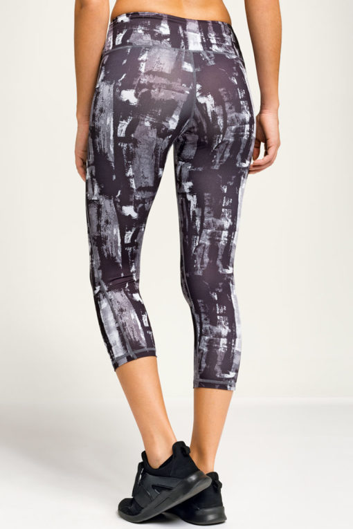 Womens Sunset Charcoal Cropped Gym Leggings Back