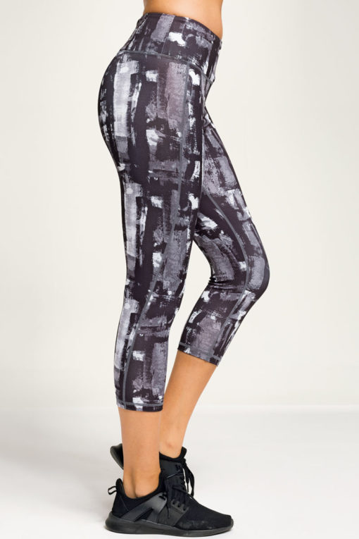 Womens Sunset Charcoal Cropped Gym Leggings Side