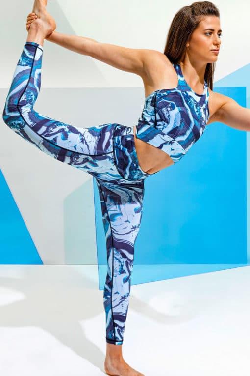 womens performance marble blue sports bra